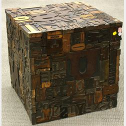 Wood Letter Printing Block Cube Table