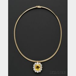 Antique 18kt Gold, Yellow Sapphire, and Diamond Pendant, Tiffany & Co.