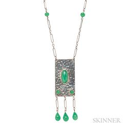 Arts and Crafts Sterling Silver and Green Hardstone Necklace