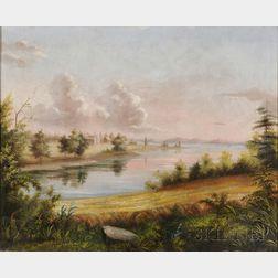 American School, 19th Century      Washington's Birthplace, Westmoreland, Virginia, Where Popes Creek Joins the   Potomac River.