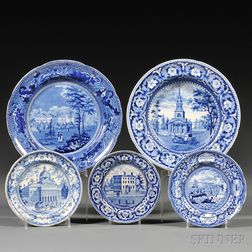 Five Historical Blue Staffordshire Pottery Plates with Boston Views