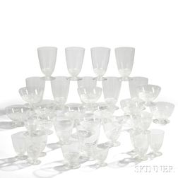"Thirty-Four Pieces of Rene Lalique ""Nippon"" Pattern Stemware"