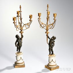 Pair of Louis XVI-style Ormolu and Patinated Bronze Three-light Candelabra