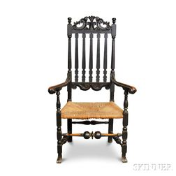 Black-painted and Carved Banister-back Armchair