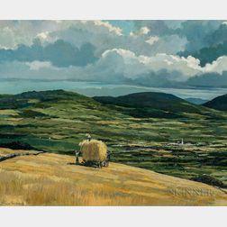 Eric Sloane (American, 1905-1985)      Hay Harvest, Late Summer