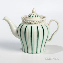 Leeds Creamware Ceramic Teapot