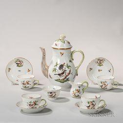 "Herend Porcelain ""Rothschild Bird"" Pattern Tea Set"