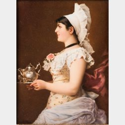 KPM Porcelain Plaque Depicting Morning Coffee