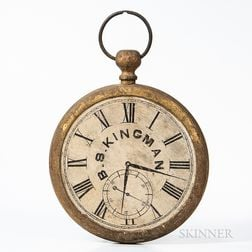 """Two-sided """"B.S. Kingman"""" Painted Giltwood Pocket Watch-form Trade Sign"""