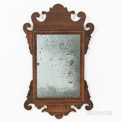 Small Chippendale-style Inlaid Mahogany Scroll-frame Mirror