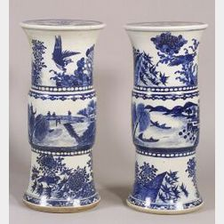 Pair of Tall Blue and White Porcelain Garden Seats