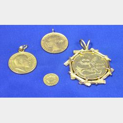 British 1881 and 1902 Gold Sovereign, Chinese 1982 Panda Coin, and U.S. 1849   California Gold Piece