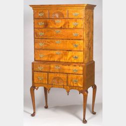 Charles Dewey Queen Anne Style Carved Tiger Maple Highboy