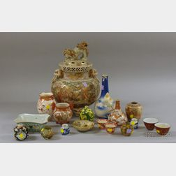 Approximately Twenty Pieces of Assorted Japanese and Chinese Decorated Ceramics