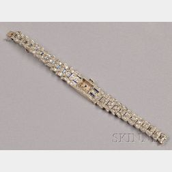 Art Deco 18kt White Gold and Diamond Wristwatch, Longines
