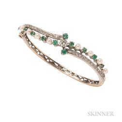 14kt Gold, Emerald, and Diamond Bracelet