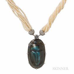Platinum, Labradorite, Cultured Pearl, and Diamond Necklace