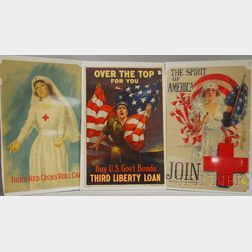 Two WWI Lithograph Red Cross Posters and a War Bond Poster