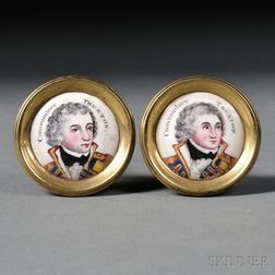"""Pair of """"Commodore Truxton"""" Enameled Porcelain and Brass Mirror Supports"""