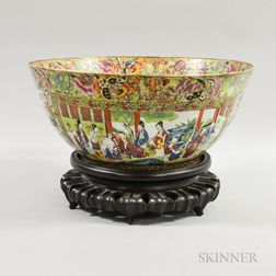 Large Famille Rose Porcelain Punch Bowl with Stand