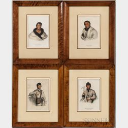 Four Framed Lithographs from The History of Indian Tribes of North America