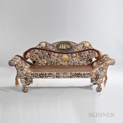 Classical-style Shell-decorated and Red-painted Sofa