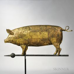 Gilt Molded Copper Pig Weathervane