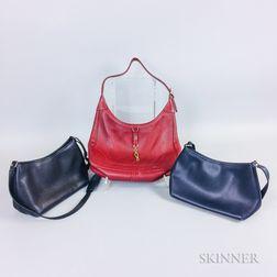Three Hermes Leather Handbags