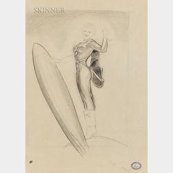 Alberto Vargas (American, 1896-1982)      Space-age Pinup Sketch