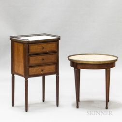 Two Louis XVI-style Mahogany and Walnut Marble-top Stands