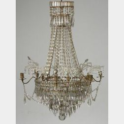Continental Neoclassical-style Six-Light Crystal Chandelier