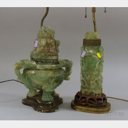 Chinese Carved Fluorite Footed Incense Burner and Vase Converted to Table Lamps.