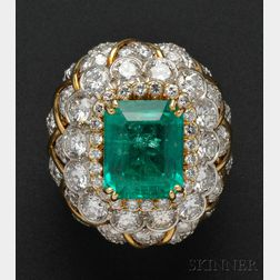 Platinum, 18kt Gold, Emerald, and Diamond Ring, David Webb