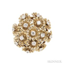 14kt Gold and Diamond Flower Ring