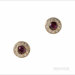 18kt Gold, Ruby, and Diamond Earstuds