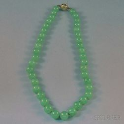 Gump's Serpentine Bead Necklace with 14kt Gold Clasp