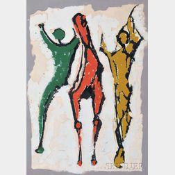 Marino Marini (Italian, 1901-1980)      Two Figures and a Horse