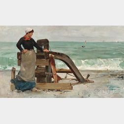 American School, 19th Century      Young Woman on the Beach