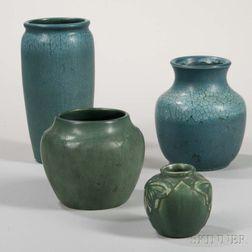 Three Hampshire Vases and a Van Briggle Pottery Vase