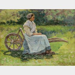 Ernest Lee Major (American, 1864-1950)      Girl Resting on a Wheelbarrow