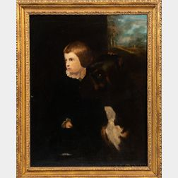 British School, 19th Century      Portrait of a Boy, Said to be the Earl of Pembroke, with His Dog