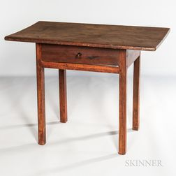 Red-painted Pine and Maple Tavern Table