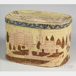 "Large ""Wesleyan University"" Wallpaper Covered Band Box"