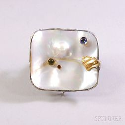 Eve Alfille 14kt Gold, Sterling Silver, Mabe Pearl, and Cabochon Gemstone   Pendant/Brooch