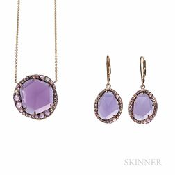 Amethyst, Pink Sapphire, and Diamond Pendant and Earrings