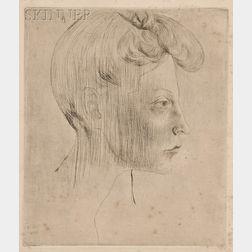 Pablo Picasso (Spanish, 1881-1973)      Tête de femme, de profil