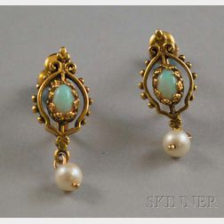 Pair of Victorian 14kt Gold, Opal, and Pearl Earrings