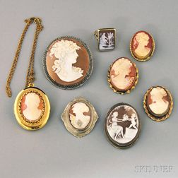 Group of Mostly Shell-carved Cameo Jewelry