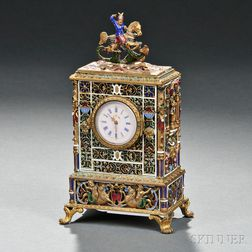 Continental Gilt-metal and Enamel Table Clock