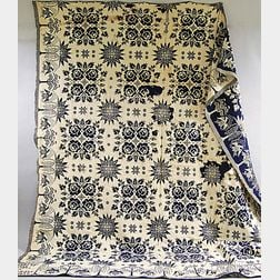 Blue and White Double Rose Coverlet with Eagle Border